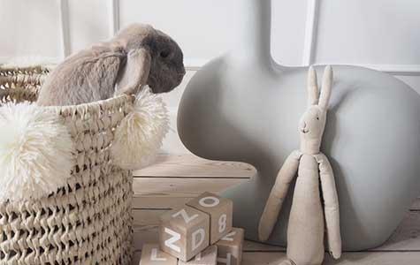 rabbit chair light grey
