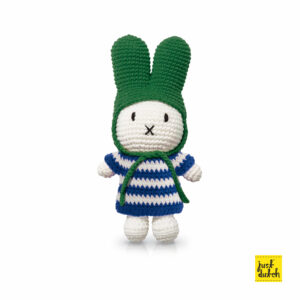 stripes - miffy handmade and her blue striped dress + green hat (EAN-871 932 438 1376)